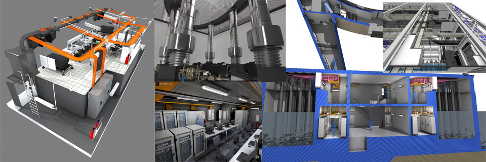 3d images showing technical rooms, control rooms, projection rooms, pumps for water screen