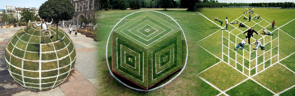 garden optical illusion of a 3d shere in volume in Paris Hotel de Ville, of a 3d cube in the Bagatelle parc and of a flat cube in Saint Germain