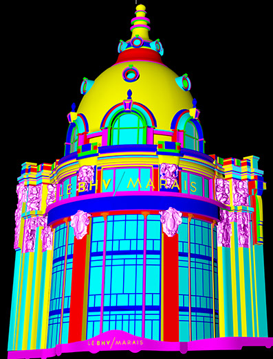 An exemple of video mapping 3d model with some elements that came from a 3d laser scan